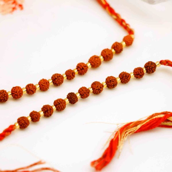 String of Rudraksh set of 2 Rakhis
