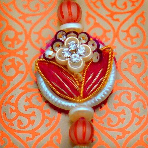 Floral Rakhi with Card