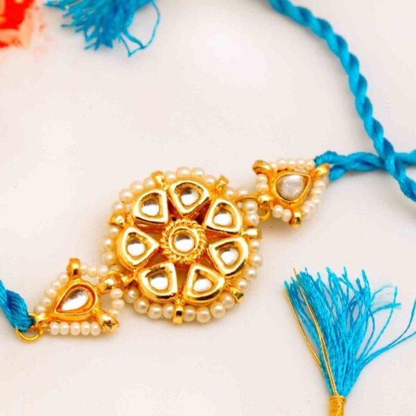 Floral Kundan Blue Rakhi