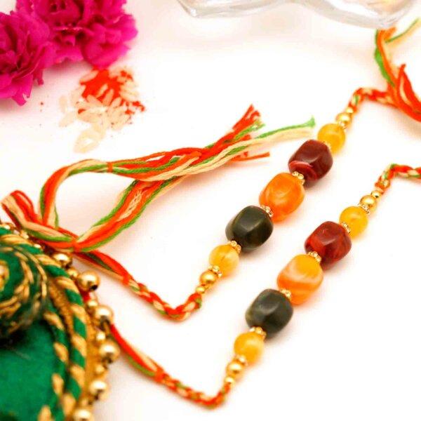 Tri Color Stone Rakhi Set