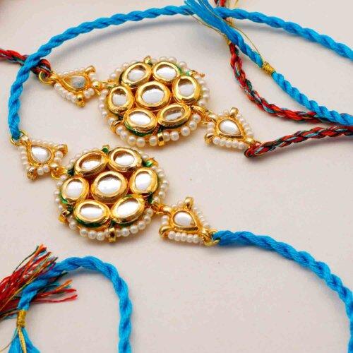 Set of two Floral Kundan Rakhis