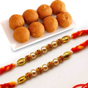 Send Antique Pair with Besan Laddoo Combo to india
