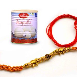 Send Terrific Combo with Designer Rakhi and Haldiram's Rasgulla to india