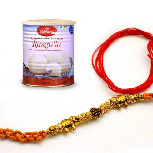 Send Terrific Combo with Designer Rakhi and Haldiram's Rasgulla to india