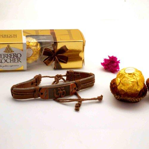 OM bracelet Rakhi with 3pcs. Ferrero Rocher chocolate combo