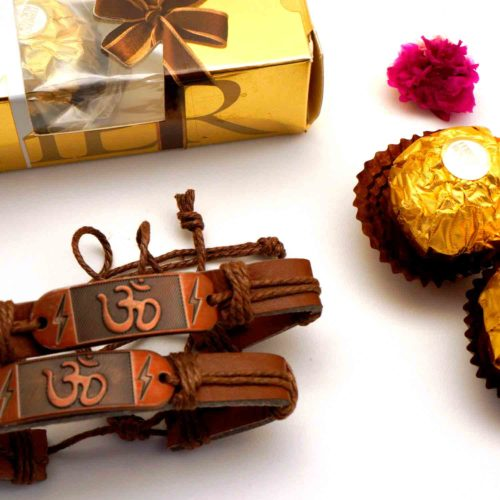 Buy OM bracelet Rakhi with 3pcs. Ferrero Rocher chocolate combo to new jeresy