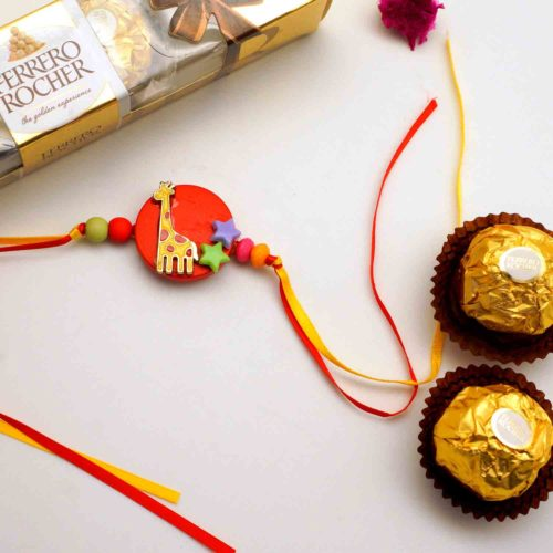 Kids Shininng Star Geraffe Rakhi with 3pcs. Ferrero Rocher chocolate combo