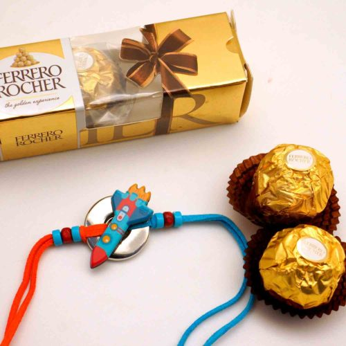 Send Spaceship Rakhi with 3 pcs Ferrero Rocher chocolate combo in New York