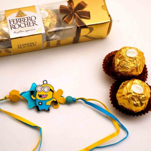 Send Minion Pendant rakhi with 3pcs, Ferrero Rocher chocolate combo to USA