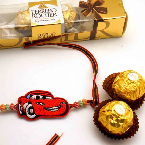 Buy Lightning Macqueen Rakhi with 3 pcs. Ferrero Rocher chocolate combo in india