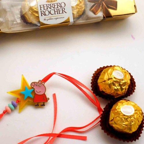 PeppaPig The Star Rakhi with 3pcs. Ferrero Rocher Chocolate Combo