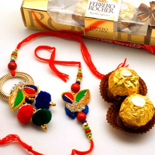 Buy Zari Bhaiya Bhabhi Rakhi with 3pcs Ferrero Rocher in USA