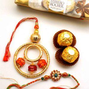Send Floral Bhaiya Bhabhi Rakhi with 3pcs Ferrero Rocher to USA