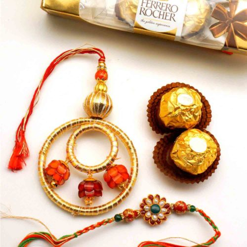 Send Floral Bhaiya Bhabhi Rakhi with 3pcs Ferrero Rocher to USA