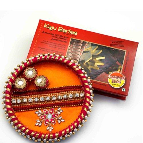 Decorative Thaal with Kaju Barfee