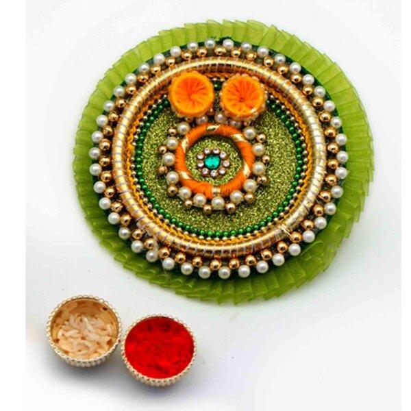 Green Handmade bhaidooj thali with sweets