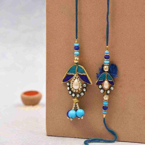 Blue beads lumba rakhi- Send Rakhi to Banglore