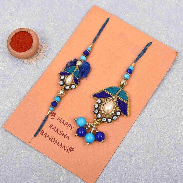 Blue beads lumba rakhi