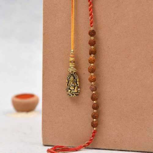 Ganesha and Rudraksha Lumba Rakhi- Rakhi Delivery in Bangalore
