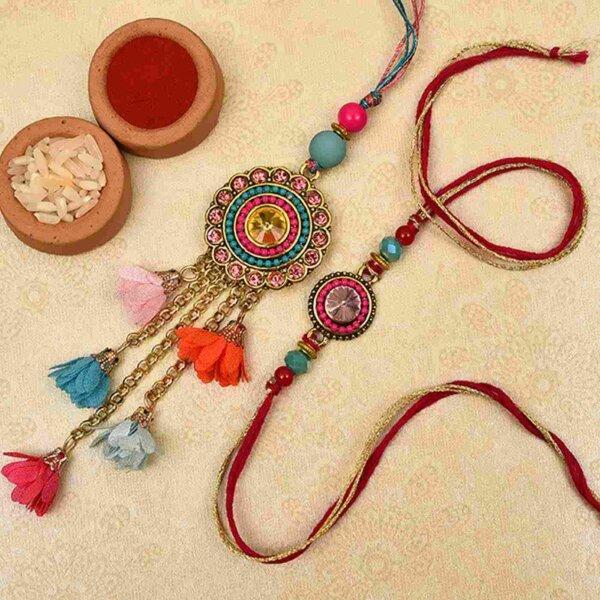 Designer multicolored stone bhaiya bhabhi rakhi