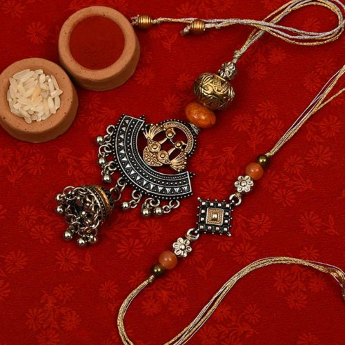 Send Silver Oxidised with Ghungroo Bhaiya Bhabhi Rakhi to Pune,India