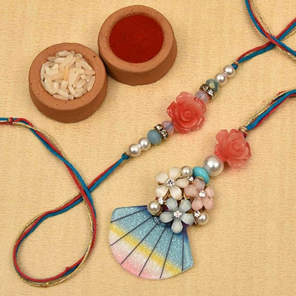Modern Blue Red Rose Pearl Rakhi- Online Rakhi in Banglore