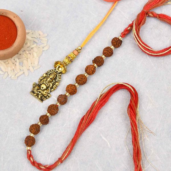 Ganesha and rudraksh lumba rakhi