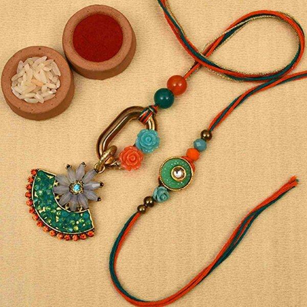 Floral red-green beads bhaiya bhabhi rakhi