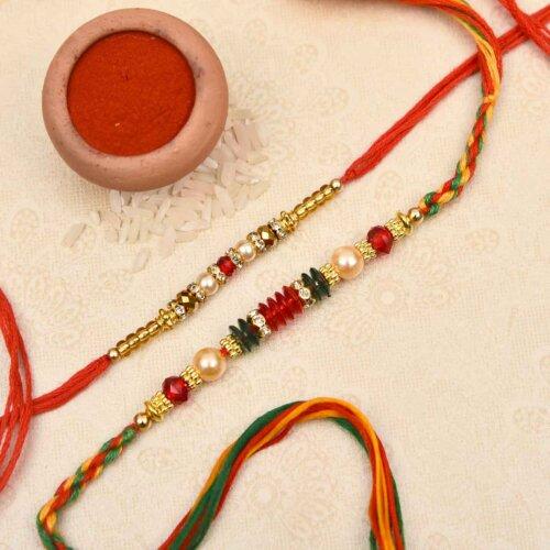 Pretty pearl and beads combo rakhi
