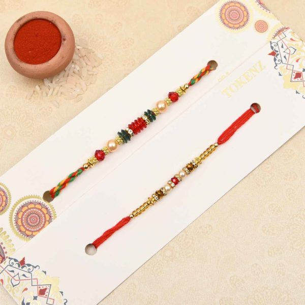Send Pretty Pearl and Beads Combo Rakhi to India from Usa