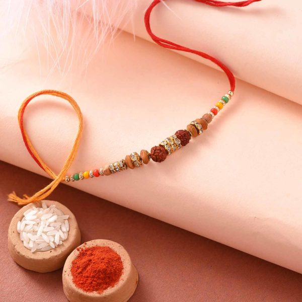 Auspicious Rudraksha with Colorful Beads Rakhi- Online Rakhi Delivery in Pune