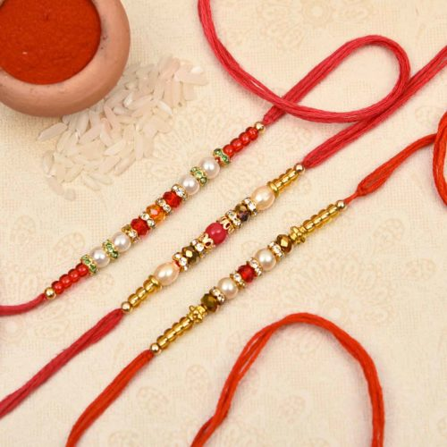 Attractive Pearl and Beads Rakhi- Online Rakhi Delivery in Hyderabad