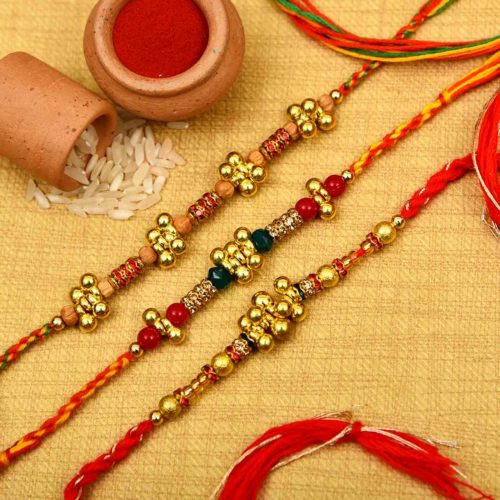 Designer Set of Ghungroo and Crystal Beads Rakhi- Rakhi Online Hyderabad