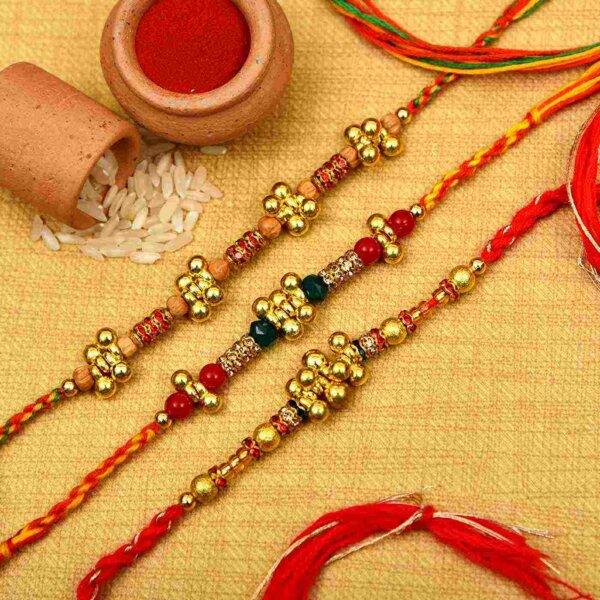 Designer Set of Ghungroo and Crystal Beads Rakhi- Rakhi Online Hyderabad
