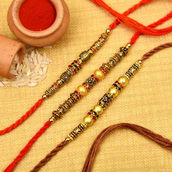 Buy Metallic Finish Beads Pearl Rakhi Set online in Hyderabad, India
