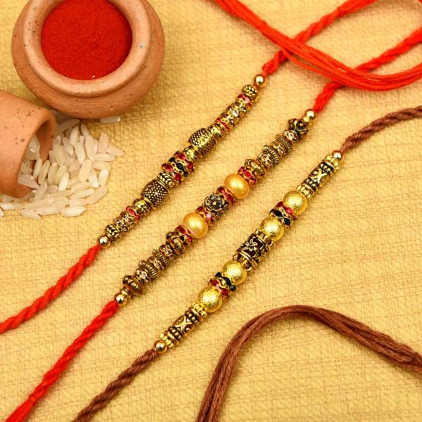 Ghungroo with Golden Beads Rakhi Set Online for Brother