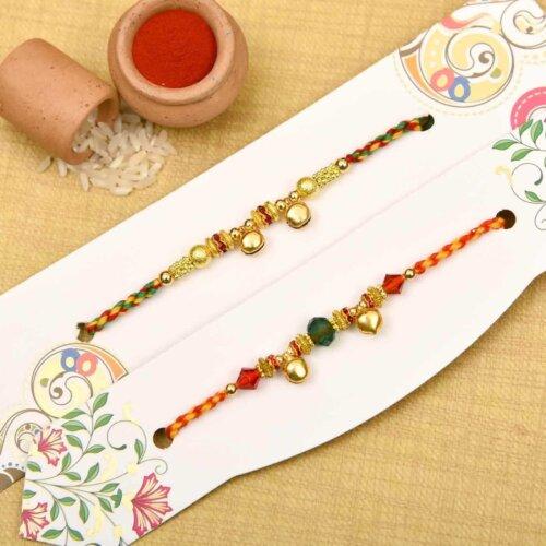 Set of 3  Golden Beads Rakhi