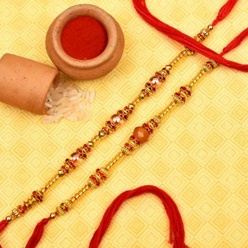 Send Golden and Red Bead Rakhi Set Online Delhi, India
