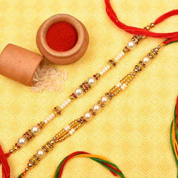 Beautiful Pearl White Beads Rakhi Set- Online Rakhi in Hyderabad