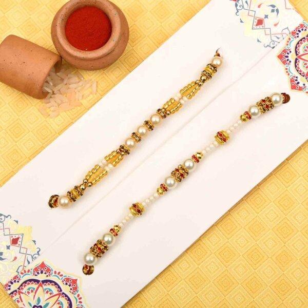 Beautiful pearl-white beads rakhi-set of 2