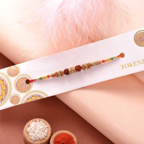 Auspicious rudraksh with colorful beads rakhi