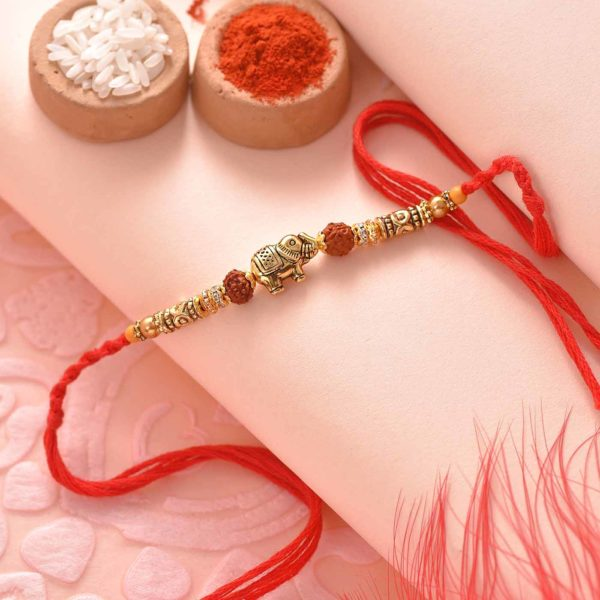 Antique Elephant with Rudraksha Rakhi- Online Rakhi Delivery in Mumbai