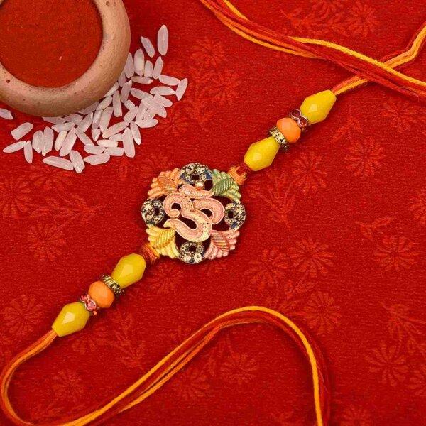 Auspicious Om flower rakhi