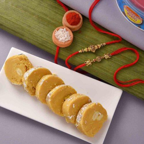 Batisa Slice with Antique Tortoise and Lion Face Rakhi Set