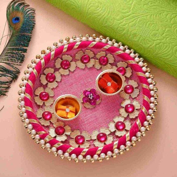 Ghunghroo Rakhi -Set of two with Kesar Peda and Thali