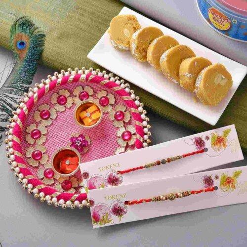 Metallic beads and rudraksh rakhi with with Batisa Slice and thali