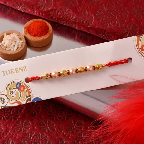 Pista Roll with Pearl and Golden Beads Rakhi