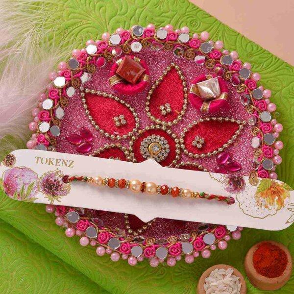 Crystal & Pearl Rakhi with Mewa Bites and Thali