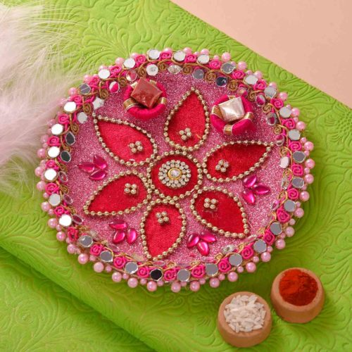 Set of 3 Crystal & Pearl Rakhi with Mewa Bites and Thali