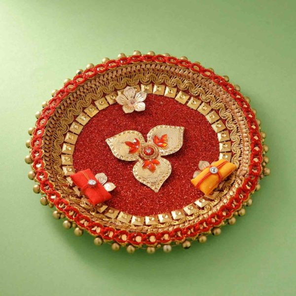 Amazing Pearl & Cyrstal rakhi with thali